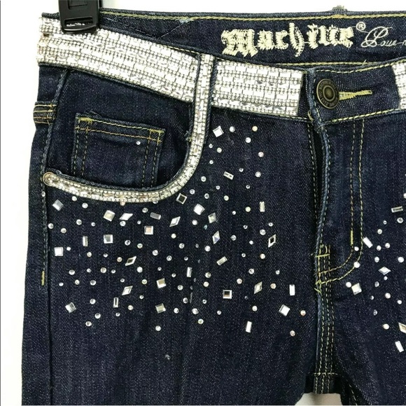 Machine Denim - Machine Embellished Distressed Skinny Jeans 28